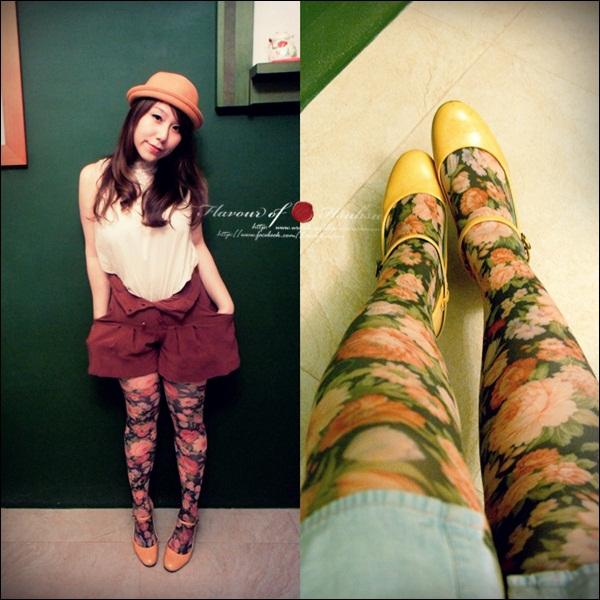 印花丝袜的鞋子搭配-黄/橘