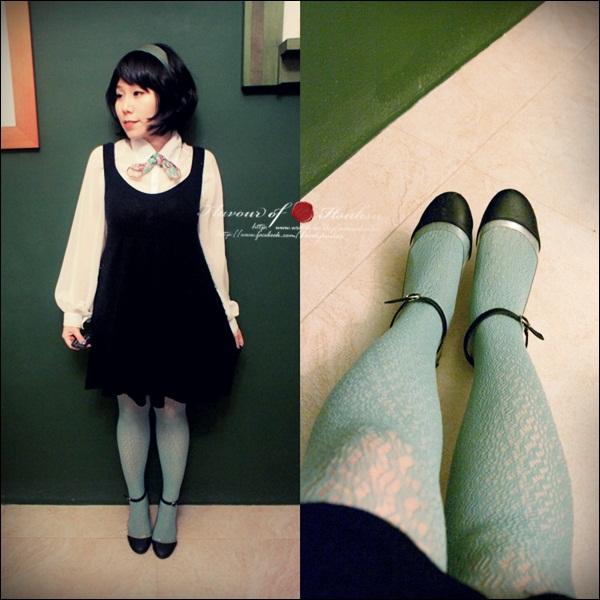 蓝绿色丝袜的鞋子搭配-黑色